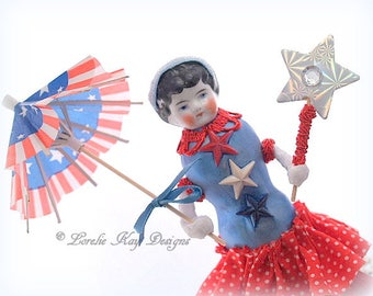 Lady Liberty Spun Cotton Assemblage Art Doll China Head Doll 4th of July Decoration  ixed Media Art Doll