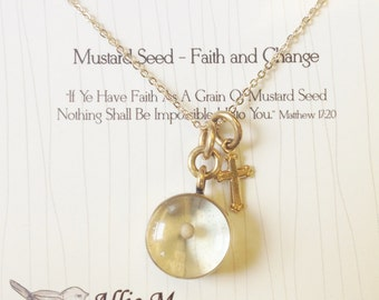 View herb jewelry by alliemjewelry on etsy mustard seed charm and cross strung on a gold plated chain gold necklace vintage aloadofball Image collections