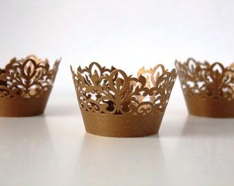 12 Dark Gold Damask Shimmer Laser Cut Cupcake Wrappers, 12 ct Gold Cupcake Wrap