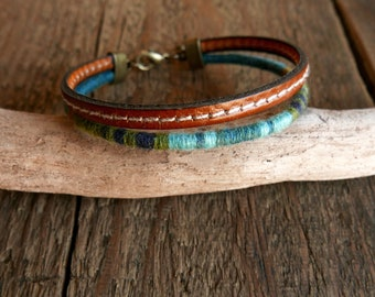 Mens bracelet, Leather bracelet, Mens jewelry, Mens gift, Boyfriend gift, Blue bracelet,  Ethnic bracelet for him, Husband gift, Christmas
