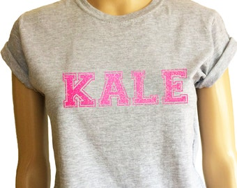 Ladys sport grey T-shirt with neon Glitter KALE. Very sparkling! Very bright!