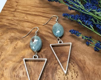 Aquamarine Triangle Pendant Earrings Aquamarine Earrings Geometric Earrings Dangle Earrings Gifts For Her Under 20 Earrings For Her Under 20