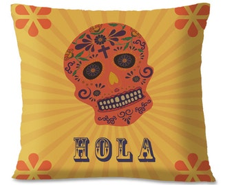Mexican Folk Pillow Cover HOLA - Day of the Dead - Mexico Southwest Decorative Throw - Sugar Skull - European Linen Backing