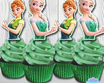 Frozen Fever Cupcake Toppers, Cupcake Picks INSTANT DOWNLOAD, You Print