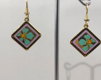 "Rare Vintage LAUREL BURCH Enamel ""Jasmine for Jodi"" Vibrant colors! Gold Tone, Orange, Lavender, Black, and Green Drop Pierced Earrings"