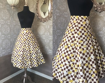 Vintage 1950's Brown and Yellow Checkered Print Cotton Skirt Small / XS