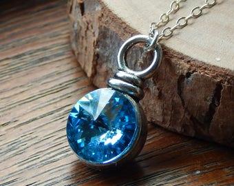 Aquamarine Necklace,March Birthstone Necklace,Swarovski Crystal Necklace,Solitaire Necklace