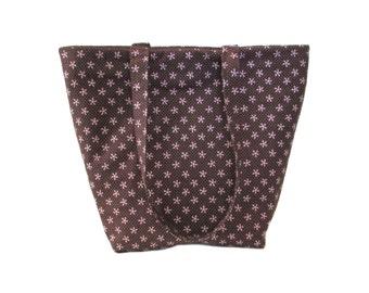Brown Tote Bag, Floral Cloth Purse, Pink Polka Dots, Pink Flowers, Handmade Handbag, Fabric Shoulder Bag