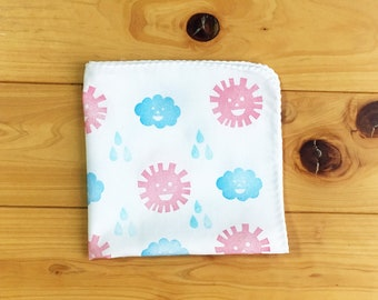 weather handkerchief | kids school hankie | children nose wipe | cotton hand wipe | eco friendly gift | hand printed textile