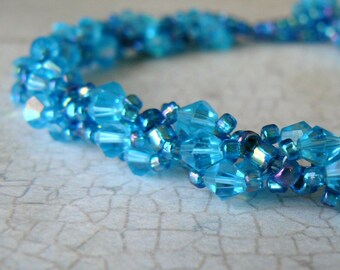 Bright Turquoise Bracelet, Aqua Sparkling Crystal Bracelet, Cyan Beaded Bracelet, Bright Blue Beadwork Jewelry, Gift for Her