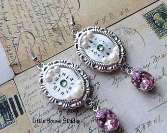 Vintage Watch Earrings, Watch Earrings, Watch Crystal Earrings, Antique Watch Earrings, Steampunk Earrings, Pink Crystal Earrings, OOAK