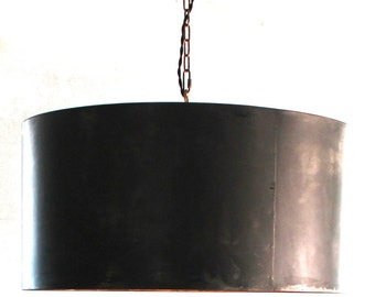 Handcrafted Drum Pendant Light with Aged Zinc or Black Steel Finish FREE SHIPPING barrel light