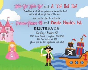 Princess & Pirate Birthday Invitation