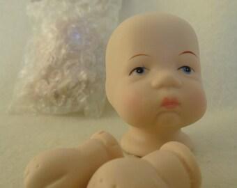 Vintage Mangelsens Porcelain Baby Doll Head/Hands Kit