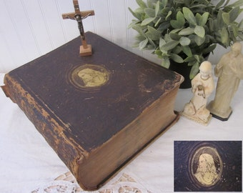 Antique 1856 Bible, The Illustrated Domestic Bible Rev Ingram Cobbin M.A. Holy Bible Authorized Version. Large gold gilt Jesus brown leather