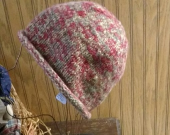 Hat hand knit hemp and wool
