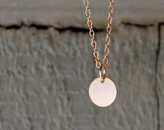 Delicate Disc Necklace • Personalized • Layering Necklace • Minimal • Dainty • Circle • Rose Gold Fill • Name Date Initial • Sterling Silver