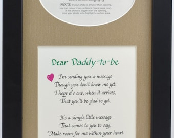 Father's Day,  Daddy to Be Ultrasound Frame 7x14 - Choose Your Mat and Frame -  Dad Gift Father Sonogram Picture