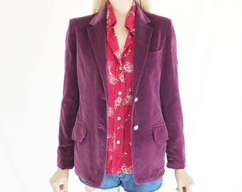 Vintage 70's Velvet Blazer. Size Small