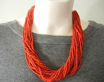 Vintage carnelian glass bead torsade, orange torsade, seed bead multistrand necklace, carnelian seed bead necklace, carnelian seed beads