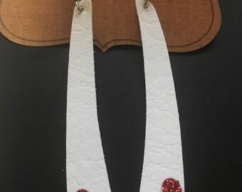Faux leather heart bar earrings