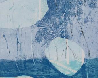 """Original image, Monotype """"Fragments 1, Sheet size 30 x21 cm din A4, motif size 15 x 21 cm, Blue abstract landscape"""