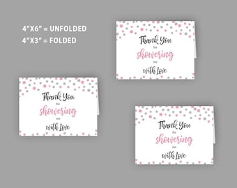 Pink Silver Bridal Shower, Thank you Cards, Pink Place Cards, Thank you for showering me with love, Wedding shower cards, Printable, J027