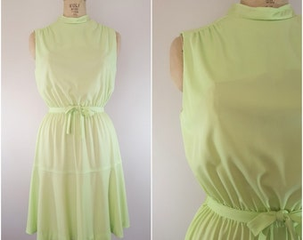 Vintage 1960s Lime Green Dress / Tie Waist / Small Medium