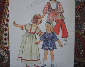 vintage 1970s Simplicity sewing pattern 6054 toddlers caftan in two lengths size 2