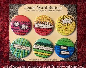 Found Word Pinback Button Set - book pages recycled pins badges you rock reader writer librarian english teacher sarcastic snarky humor