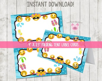 Printable Emoji Pool Party Food Tent Label Cards, Emoji Food Labels Emoji Party Tent Cards, Emoji Birthday, Printable Folding Label Cards