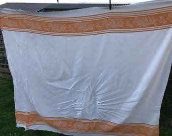 Vintage Orange and White Floral Damask Tablecloth
