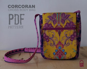 PDF SEWING PATTERN - Corcoran Cross Body Bag - Many Pockets - eReader / Tablet pocket  - Hold it Right There