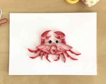 Quilling Paper Red Crab Home Decor, Cancer Sign Decor, Fish Wall Decoration, Coastal Art, Beachy Wall Art, Sea Animal Art, Water Themed Art