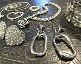 Destash - crystals & hearts - jewelry lot