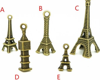 3D Eiffel Tower Deluxe Charm Collection - Tower Antique Bronze Tone Charms
