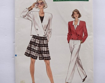 Very Easy Very Vogue 7173 Sewing Pattern Vintage 1980s Double Breasted Jacket A-Line Shorts, Straight Legged Pants UNCUT Size 8-10-12