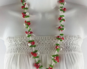 Vintage 60s Fruit Salad Necklace, Red, White and Green Plastic Long Beaded Necklace, Spring Summer Costume Jewelry, Statement Necklace