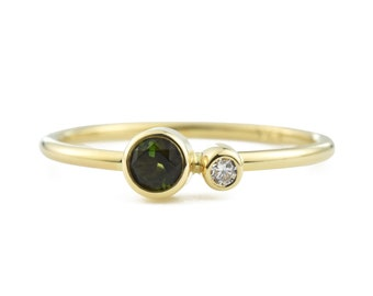Green Tourmaline Ring, 14K Gold Tourmaline and Canadian Diamond Ring, October Birthstone Ring, Gift for Her, Forest Green