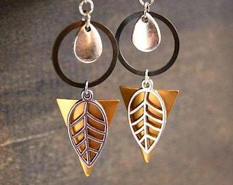 Autumn Geometric Earrings Fall Leaf Earrings Retro Geometric Jewelry Sacred Geometry Woodland Leaf Earrings Retro Hippie Earrings Vintage