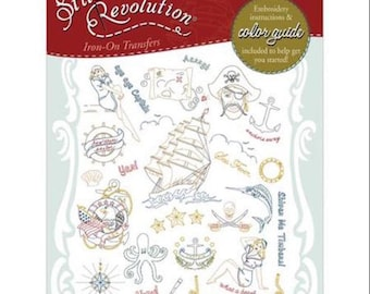Embroidery Transfer, Embroidery Pattern,Sailor's Delight, Pirate, Stitchers Revolution, Hand embroidery, Pattern