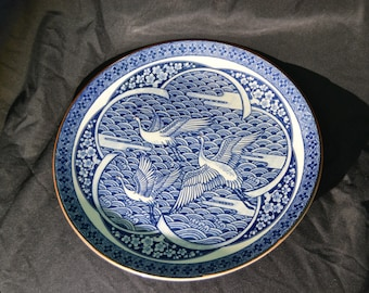 Ming Style Crane Plate Blue Ceramic Chinese Inspired Design Vintage