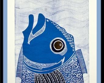 linocut, The Danger of being Male, ocean art print, water print, swimmer print, fish print, deep sea print, printmaking, blue print,