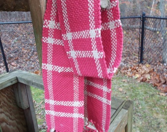 Red scarf, lightweight cotton scarf, handwoven scarf, weaving, woven accents, handmade accessory, mens scarf,  red checked, gifts for him