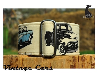 Vintage Cars (Martingale Dog Collar - Greyhound collar | Galgo collar)