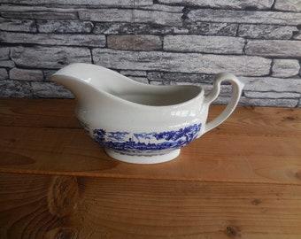 Vintage English blue and white china Ironstone Broadhurst the English scene gravy or sauce boat