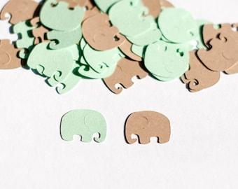 Elephant Baby Shower Decoration -  Elephant Confetti - Mint and Kraft Baby Shower Decorations
