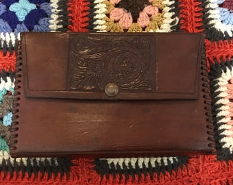 Vintage 1970's Hand Tooled Leather Clutch Purse