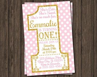 First Birthday Invitation - Pink and Gold 1st Birthday Invitations