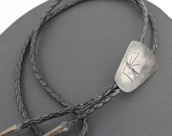 Southwest Silver & Black Roadrunner Bolo Tie